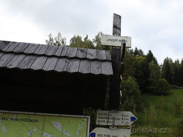 turistické rozcestí Javoří mlýn