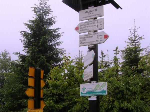 turistické rozcestí Mezivrší