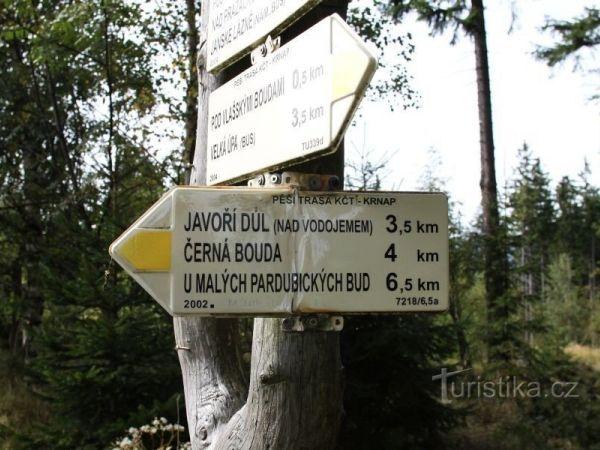 turistické rozcestí Nad Vlašskými Boudami