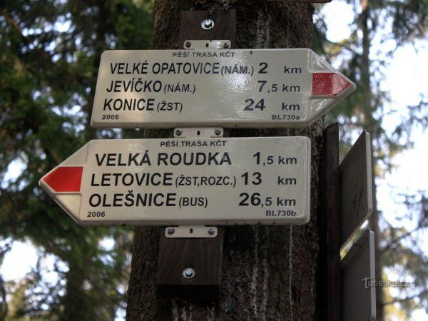 Turistické rozcestí Opatovické hradisko