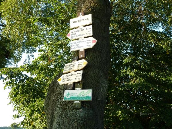 turistické rozcestí Rendlíček (rybník)