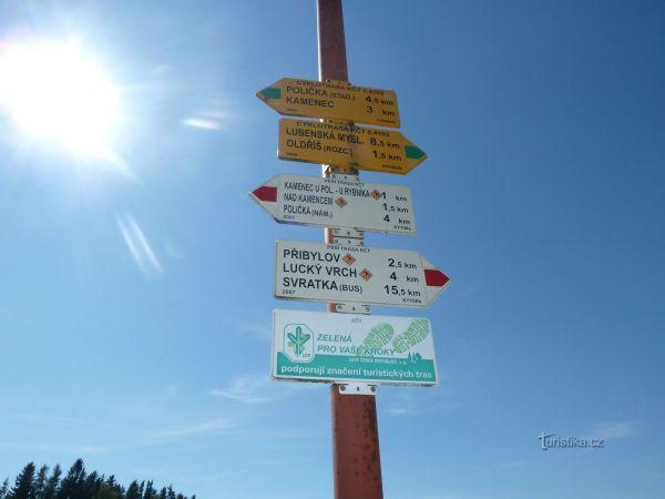 turistické rozcestí Sádek u Poličky (žst)