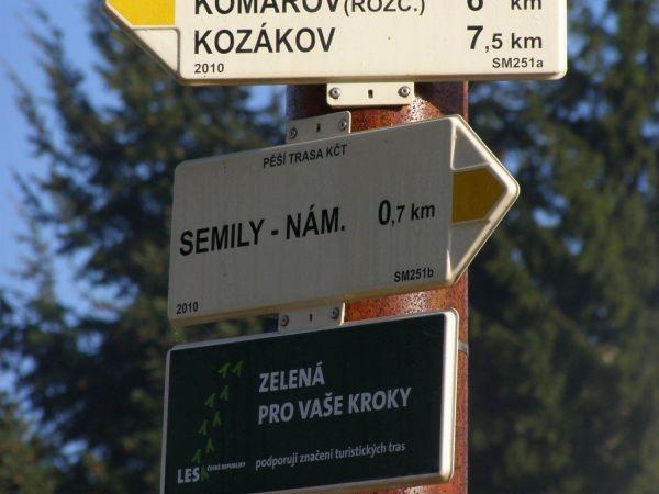 turistické rozcestí Semily - autobusové nádraží