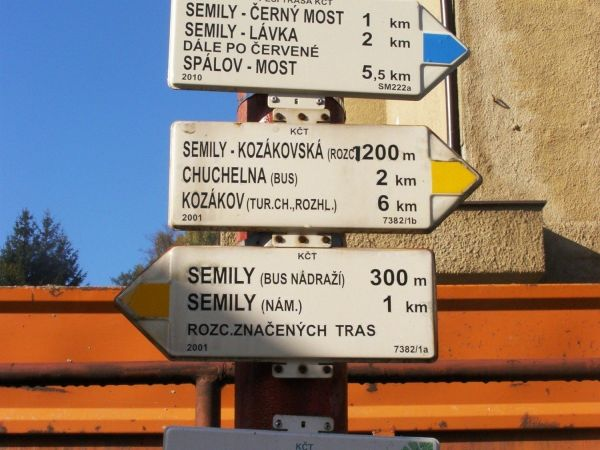 turistické rozcestí Semily - žst, nádraží