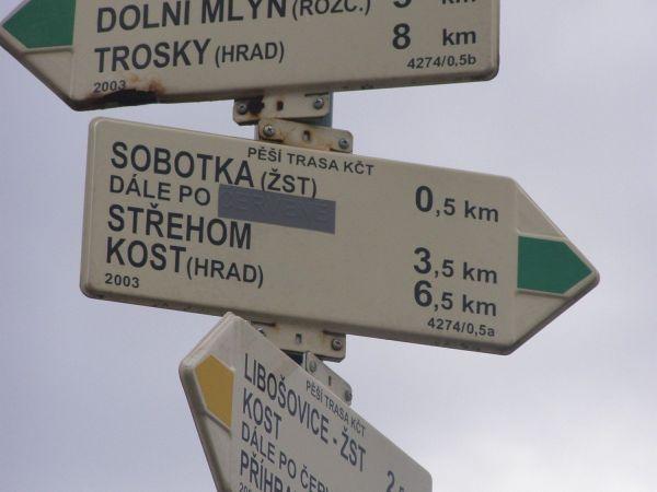 turistické rozcestí Sobotka - náměstí Míru