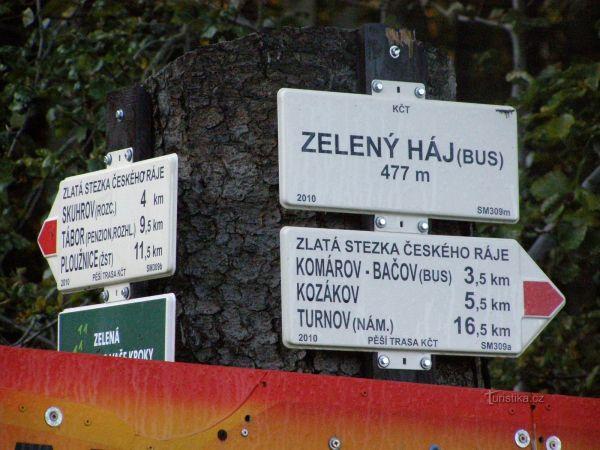 turistické rozcestí Zelený háj