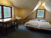 podkrovní pokoj s arkýřem a 1 skoseným stropem v chatce
