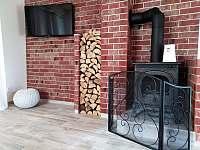 Obývací část - krbová kamna, TV