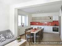 kuchyně s jídelním stolem a posezením, apartmán v přízemí