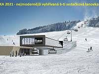 Vyhřívaná 6-ti sedačka v areálu Kraličák jen 500m od chaty Kaštan - ubytování Hynčice pod Sušinou