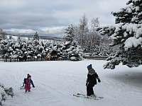 lyžování a bobování na zahradě