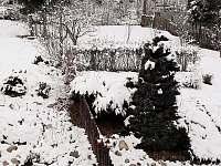 Zahrada s posezením a otevřeným ohništěm. - rekreační dům k pronajmutí Vajglov