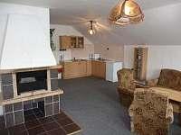 prostorný obývací pokoj s krbem