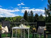 výhled z terasy - chata ubytování Dolní Bušínov