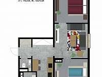 Apartmán půdorys - ubytování Jindřichov
