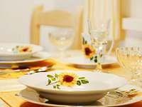 Slunečnicové apartmá - stylový slunečnicový jídelní servis - chalupa ubytování Malá Morava - Vlaské