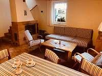Společenská obývací místnost s krbovými kamny