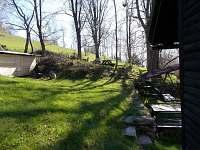 brzké jaro, kůlna se dřívím, posezení