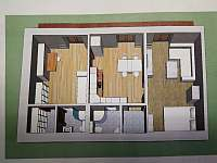 dispozice - apartmán k pronájmu Petříkov