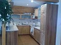 Kuchyň se sklokeramickou deskou vestavěné spotřebiče. - chata k pronájmu Petříkov