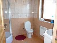 Sociální zařízení se sprchovým koutem.