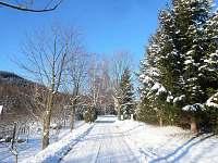 příjezdová asfaltka v zimě