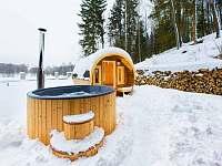 Sauna v zimě - chalupa k pronajmutí Červený Potok