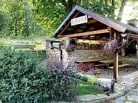 Venkovní posezení u krbu - chata k pronajmutí Malá Morava