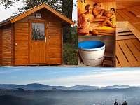 zažijte jedinečný relax ve venkovní sauně mezi vrcholy Jeseníků v ALBERTA 1 - chalupa k pronajmutí Chrastice
