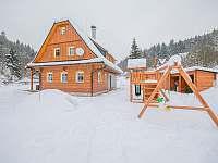 Roubenka v zimě - chalupa ubytování Kouty nad Desnou