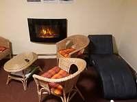 Relaxační pokoj - elektrický krb, ratanová křesla, masážní pohovka, sauna infra - apartmán k pronajmutí Kunčice