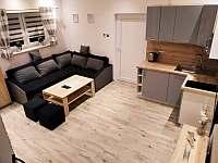 Chata 1 Obývací pokoj s kuchyňkou