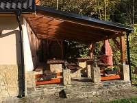 Zastřešená terasa s venkovním krbem