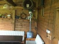 Plynová lampa na topení, prodlouží sezónu na terase. - chalupa k pronájmu Dívčí Hrad