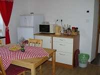 kuchyně s ledničkou a mikrovlnkou. - Hrabišín