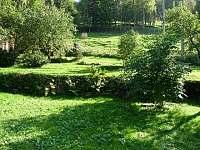Pohled na zahradu u objektu - chalupa k pronájmu Nové Losiny