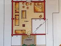 Detailní PLÁN - 1. PATRO - srub k pronájmu Zlatá Olešnice