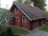 Severo-západní pohled na finský HONKA - srub - k pronájmu Zlatá Olešnice