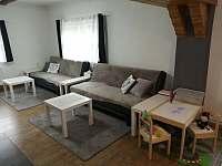 Obývák s ložnicí-manželská postel, možnost 2 přistýlek na rozkládacích pohovkách - apartmán k pronájmu Lučany nad Nisou
