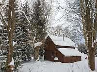Pohled na chatu zezadu Leden 2021 - Smržovka