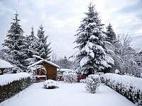 Zahrada- výhled z terasy - rekreační dům k pronájmu Liberec