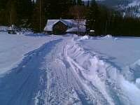 Chalupa na samotře u lesa - zimní pohled