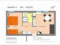Apartmán č. 4 půdorys