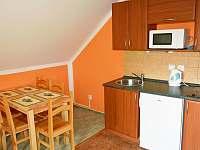 kuchyňka v zeleném apartmánu - chata k pronájmu Hrabětice