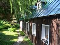 Před domem Roubenka Javorka - dovolená v Jizerkách - chata ubytování Desná