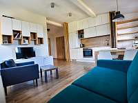 Prostorný obývací pokoj s kuchyňským koutem - apartmán ubytování Příchovice