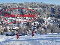 Chata Ondrášek z pohledu od sjezdovky - k pronájmu Bedřichov