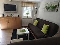 Obývací část s plochou TV - chata k pronájmu Bedřichov