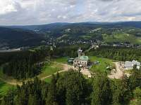 letecký pohled na Ski chatu a rozhlednu - k pronajmutí Albrechtice v Jizerských horách