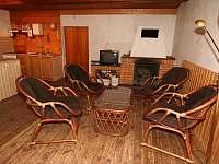 Obývacím pokoje s krbem - ubytování Bedřichov